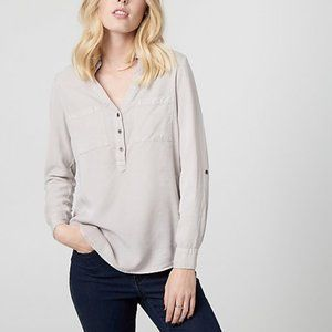 Le Chateau Twill Henley Blouse